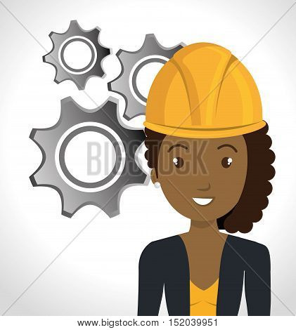 avatar woman smiling with yellow helmet safety protection and gears icon over white background. vector illustration