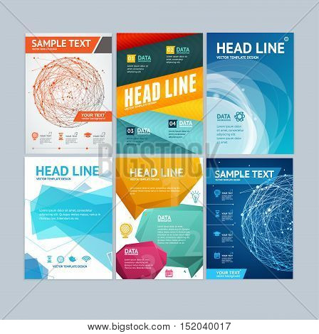 Placard, Flyer, Brochure or Poster Set Design with Bubbles Speech, Abstract Sphere. Vector illustration