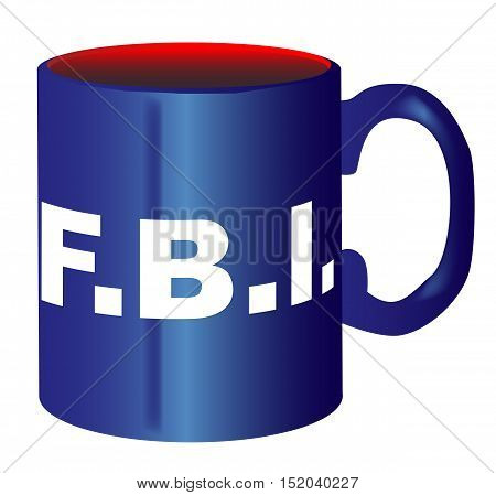 A spoof drawing of the mug of FBI over a white background