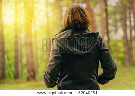 Rear view of casual female looking at morning sunlight through trees autumn park or forest woman in fall season environment scenery from behind