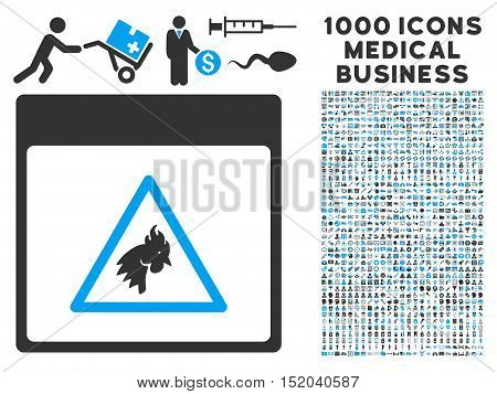 Blue And Gray Rooster Danger Calendar Page vector icon with 1000 medical business pictograms. Set style is flat bicolor symbols, blue and gray colors, white background.