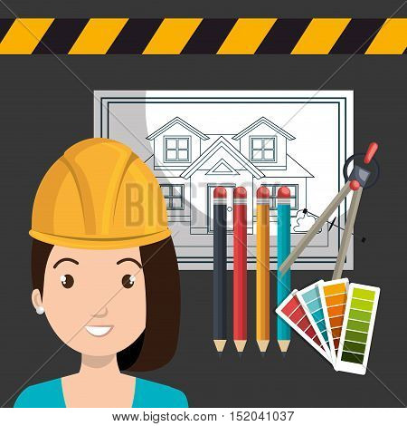 avatar woman smiling architect with yellow helmet safety equipment and architecture  construction plans and pencils utensils. vector illustration