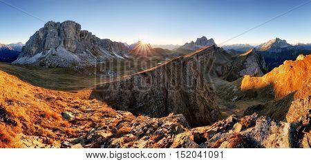 Mountain panorama at autumn sunrise Dolomites Italy Mt. Pelmo