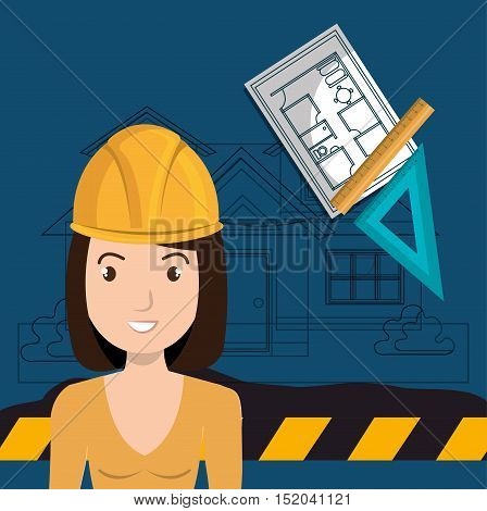 avatar woman smiling architect with yellow helmet safety equipment and architecture  construction plans. vector illustration