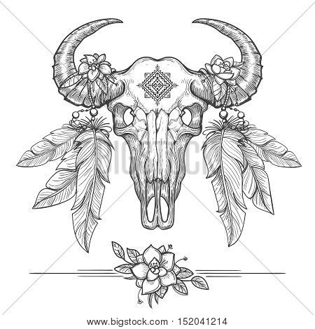 Buffalo or american bison skull on tribal boho style. American Indians dead cow head vector illustration