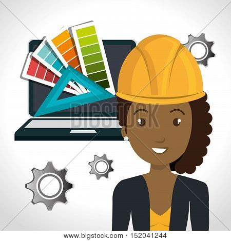 avatar woman architect with yellow helmet safety equipment and laptop computer and gears icon over white background. vector illustration