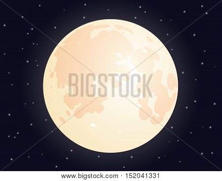Big yellow full Moon on night starry sky. Vector illustration of full Moon on starry sky. Element for your design, artworks and illustrations.