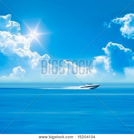 speed boat blue sky