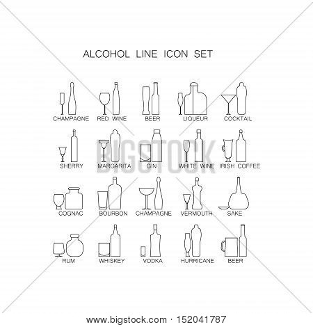 The icon set Alcoholic beverages . Line images of bottles and glasses for drinks. Collection of high quality thin line alcoholic pictogram for design website, mobile app, logo, etc.