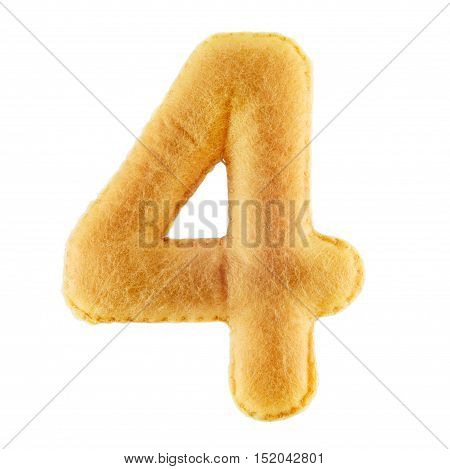 Number 4-four-from Yellow Felt