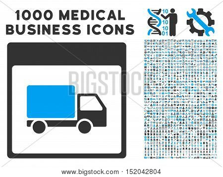 Blue And Gray Shipment Truck Calendar Page vector icon with 1000 medical business pictograms. Set style is flat bicolor symbols, blue and gray colors, white background.