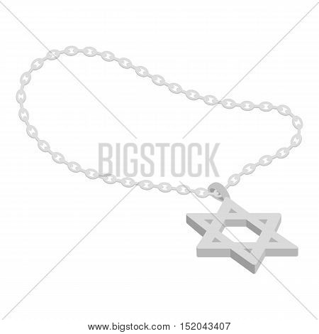 Star of David icon in monochrome style isolated on white background. Religion symbol vector illustration.