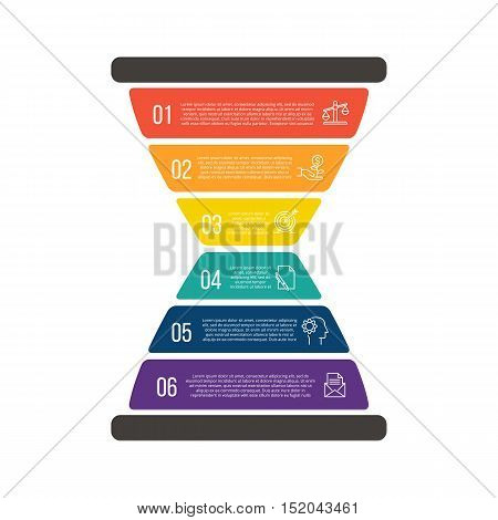 Vector illustration of business infographic with hourglass. Can be used for workflow layout, diagram, 6 options, step up options, web design, infographics