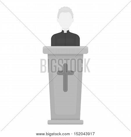 Priest icon in monochrome style isolated on white background. Religion symbol vector illustration.