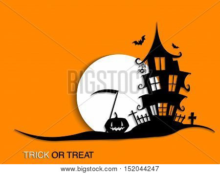 Scary Halloween moonlight background with haunted house. Halloween party background for flyer, banner or poster. Trick or treat party illustration.