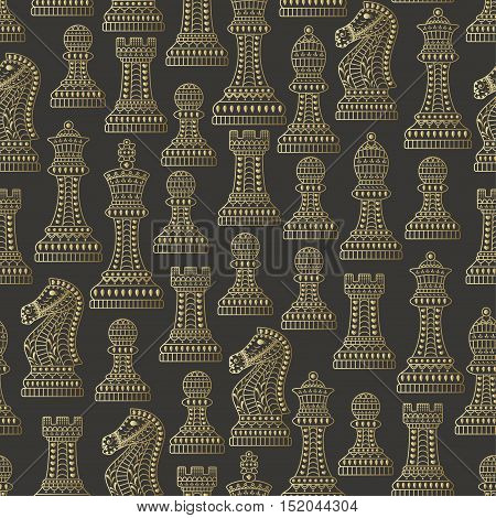 Seamless pattern with all chess pieces. Golden and black. Beautiful lace ornament in Indian style. Vector illustration.