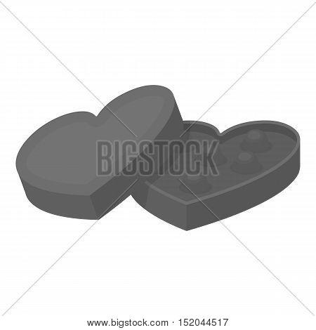 Valentine's chocolate icon in monochrome style isolated on white background. Romantic symbol vector illustration.