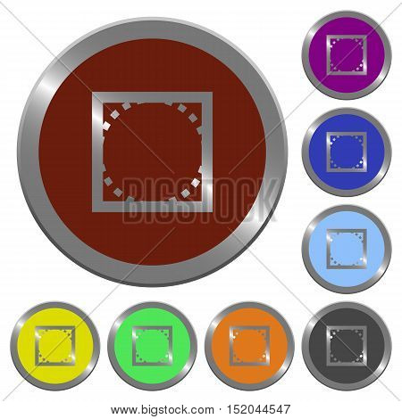 Set of color glossy coin-like rounded corners buttons