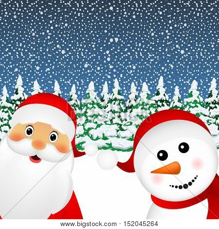 Santa Claus and Christmas Snowman in the winter snowy forest