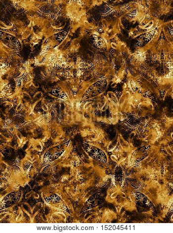 seamless oriental pattern with paisley. burnt tints on black background. Blurry paisley ornaments, interlaced with tie dye effect. Abstract ornamentlal textile.