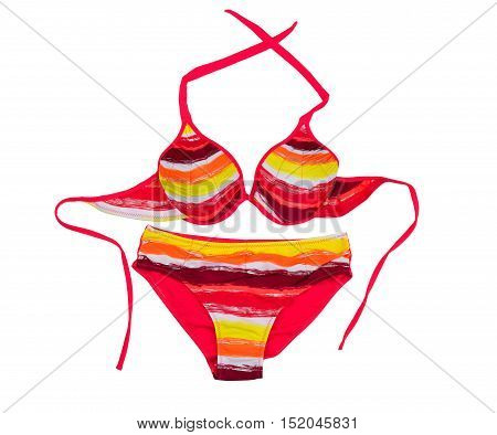 Bright colored swimsuit. Isolate on white panties