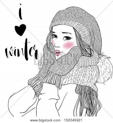 portrait of young beautiful woman with mittens