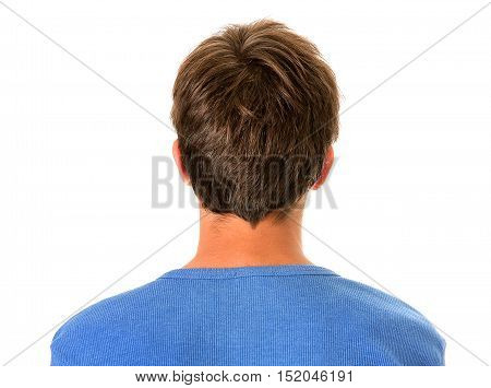 Rear View of the Young Man Isolated on the White Background