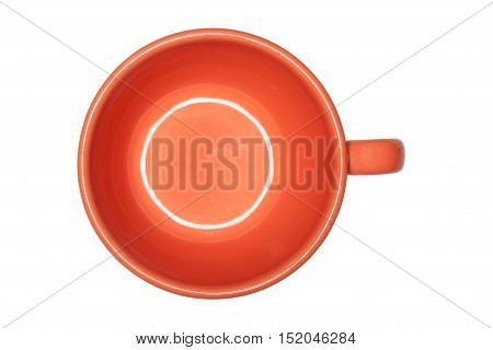 Orange cup on an empty white background