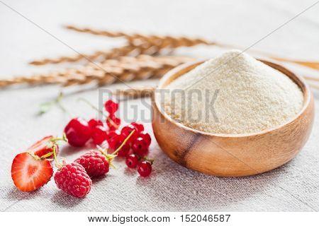Raw unprepared semolina in bowl