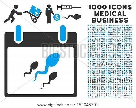 Blue And Gray Sperm Calendar Day vector icon with 1000 medical business pictograms. Set style is flat bicolor symbols, blue and gray colors, white background.