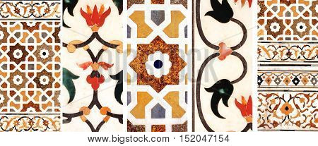 Ancient decorative mosaic on marble with flower and geometric ornament, India