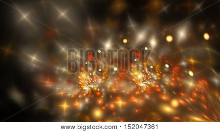 Bright stars. Abstract shining sparks on black background. Fantasy fractal design in orange yellow and beige colors. Digital art. 3D rendering.