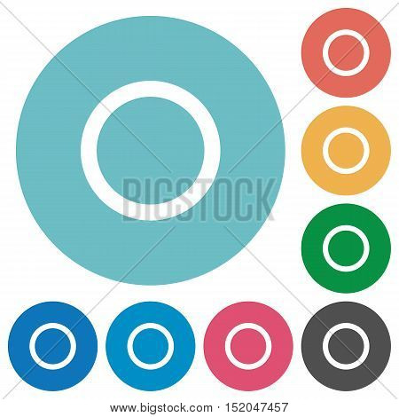 Flat media record icon set on round color background.