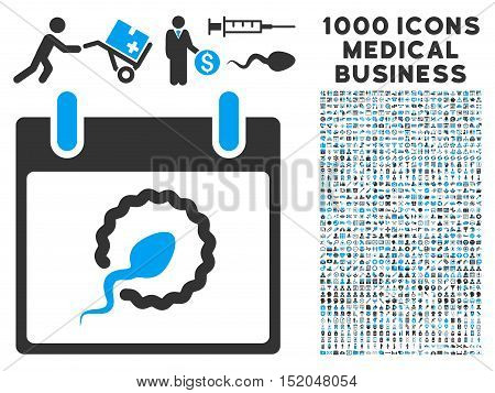 Blue And Gray Sperm Insemination Calendar Page vector icon with 1000 medical business pictograms. Set style is flat bicolor symbols, blue and gray colors, white background.