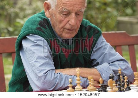 Old man playing chess in the garden