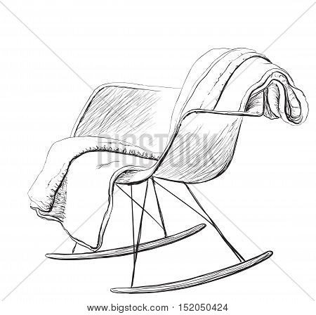 Rocking chair sketch style vector illustration. Plaid on the chair
