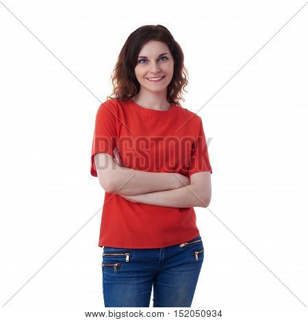 Smiling young woman in casual clothes over white isolated background with crossed hands, happy people concept