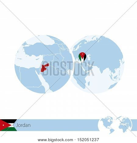Jordan On World Globe With Flag And Regional Map Of Jordan.