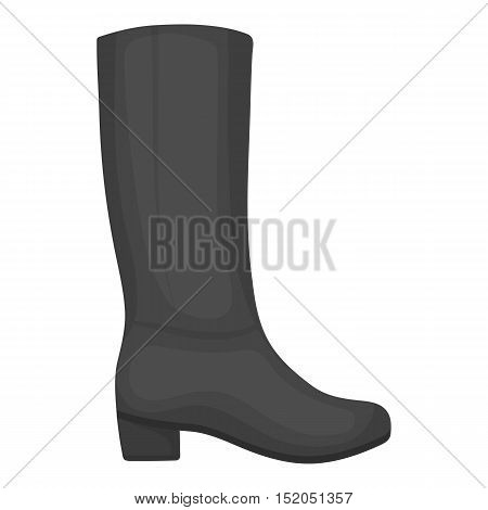 Knee high boots icon in monochrome style isolated on white background. Shoes symbol vector illustration.