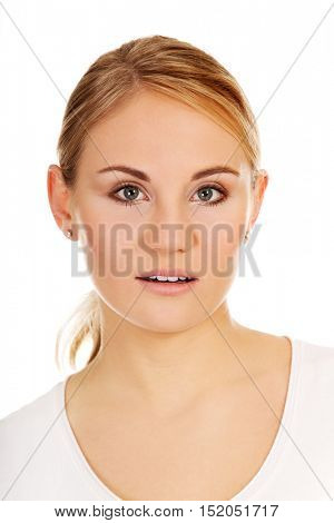 Young shocked woman with open mouth