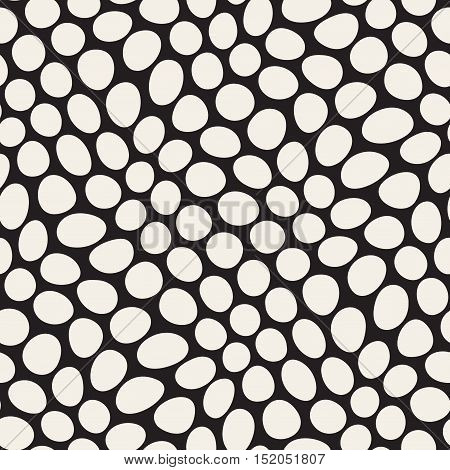Vector Seamless Black and White Distorted Circles Pattern. Abstract Geometric Background Design