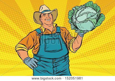 Rural retro farmer and a head of green cabbage, pop art vector illustration