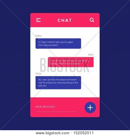 UI, UX and GUI template layout for Mobile Apps. Pink and blue. User interface. Concept chat messages, web interface, application. Speech bubbles. Sms messages. Flat simple, modern design, layout