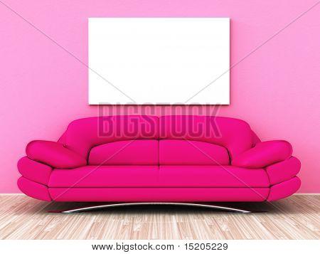 Ein leistungsfähiges Rosa Sofa mit ein weißes leeres Bild an der Wand