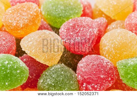 Colorful jelly candies closeup macro texture