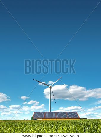 A photography of a wind mill and solar panels