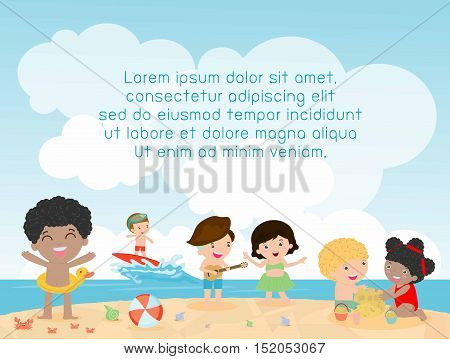 kids on the beach , children playing on the beach, Template for advertising brochure, kids time, child summer, your text ,Kids and frame,child and frame,Vector Illustration