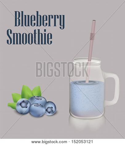Blueberry smoothie and jar with a handle