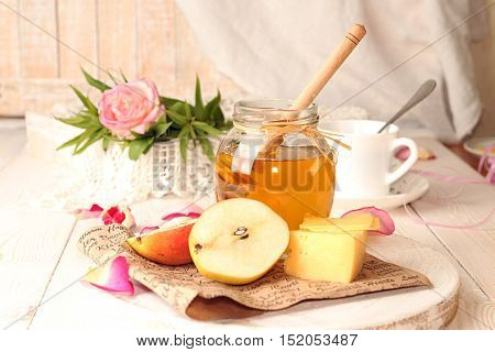 Breakfast With Delicious Sweet Honey, Cheese And Pear