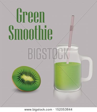 Green fruit smoothie and jar with handle